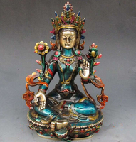 Copper Brass CHINESE crafts Asian 8.66 inch Exquisite Chinese hand carved cloisonne buddhist Buddha green tara statue
