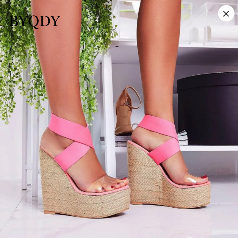BYQDY Summer Ultra High Wedges Heel Sandals Fashion Open Toe Platform Lady Sandals Cross-tied Pumps Size 35-40 Comfortable