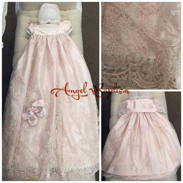 b87a91949 Custom long lace baptism dresses with bonnet beautiful christening ...