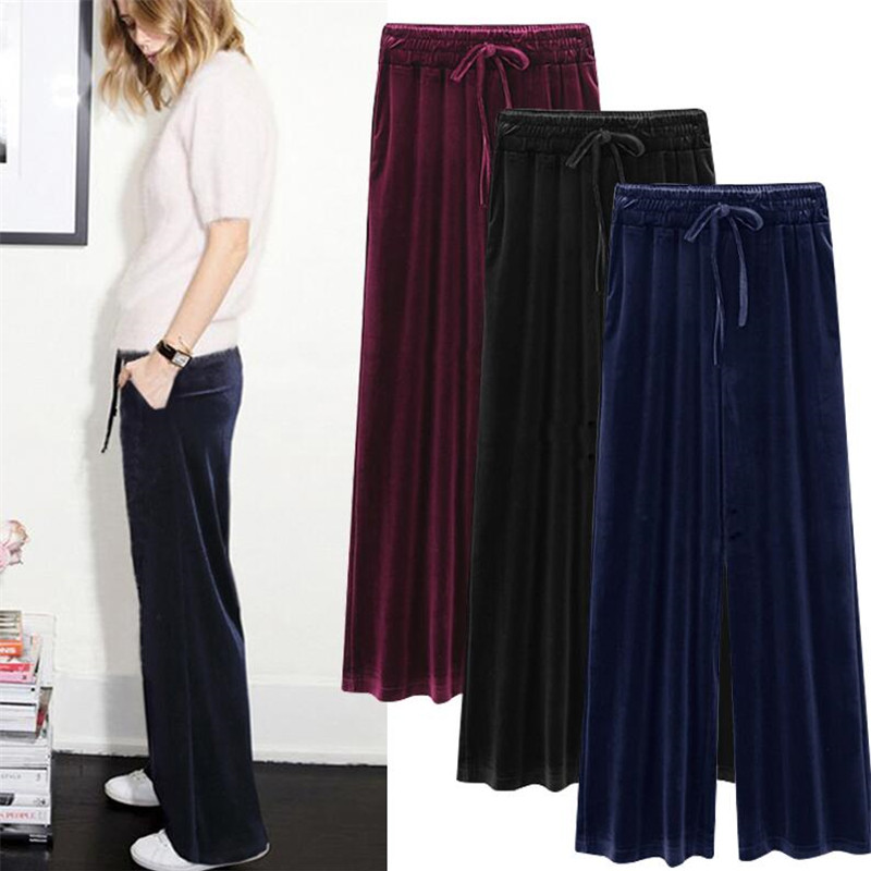 Woman Elastic Waist Gold Velvet Wide Leg Pants Female Loose Thin Straight Trousers Casual Pants Autumn Winter Large Size M-7XL