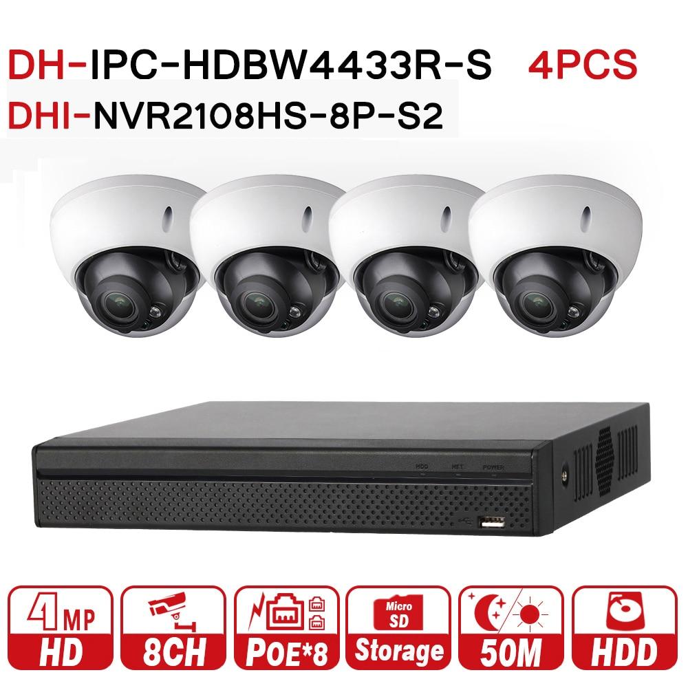 DH 4MP 8 4 Security CCTV Camera Kit With NVR2108HS 8P S2 IP Camera IPC HDBW4433R