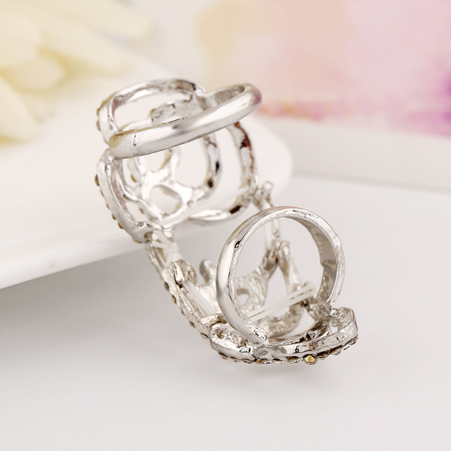 SHEEGIOR Lovely Hollow Rose Joint Ring Men Fashion Jewelry Korean Simple Gold Silver Rhinestone Long Rings for Women Accessories