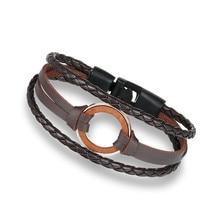 High Quality Multilayer charm leather Vintage Wood bracelet for men-women