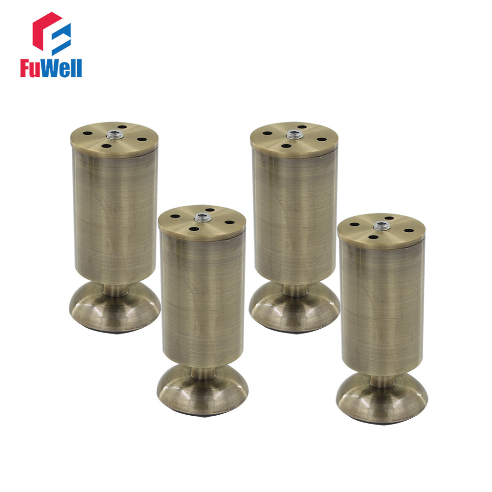 4pcs 12cm Height Adjustable Cabinet Foot Legs Aluminum Alloy Bronze 50mm Diameter Table Bed Sofa Level Feet Furniture Legs 4pcs 150mm height furniture legs adjustable 10 15mm cabinet feet silver tone stainless steel leveling feet for table bed sofa