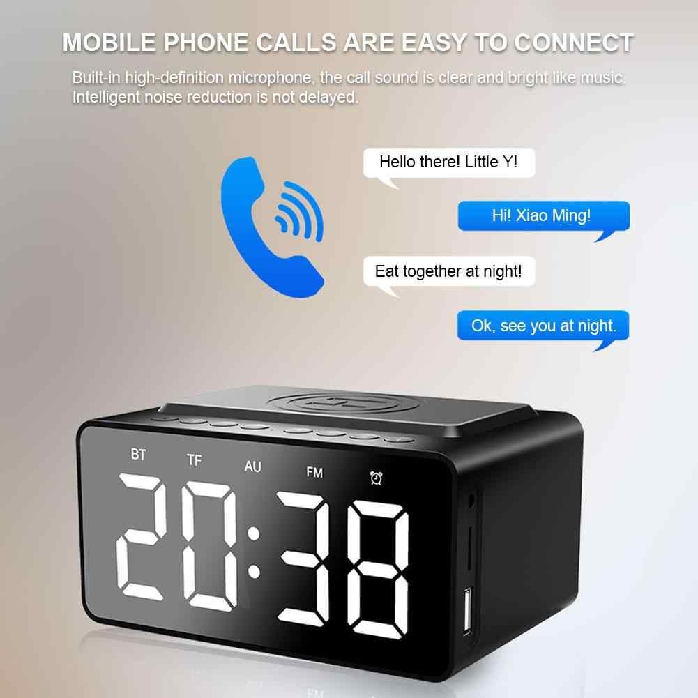 BT508 с беспроводной зарядкой Bluetooth динамик часы светодиодный Будильник банк питания три в одном часы водонепроницаемый мини автомобиль маленький