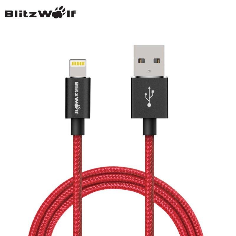 Blitzwolf MFI Certified trenzado cable de datos del teléfono móvil cable de carga Alambres 1.8 m para el relámpago para el iPhone x 8 7 6 Plus para Apple