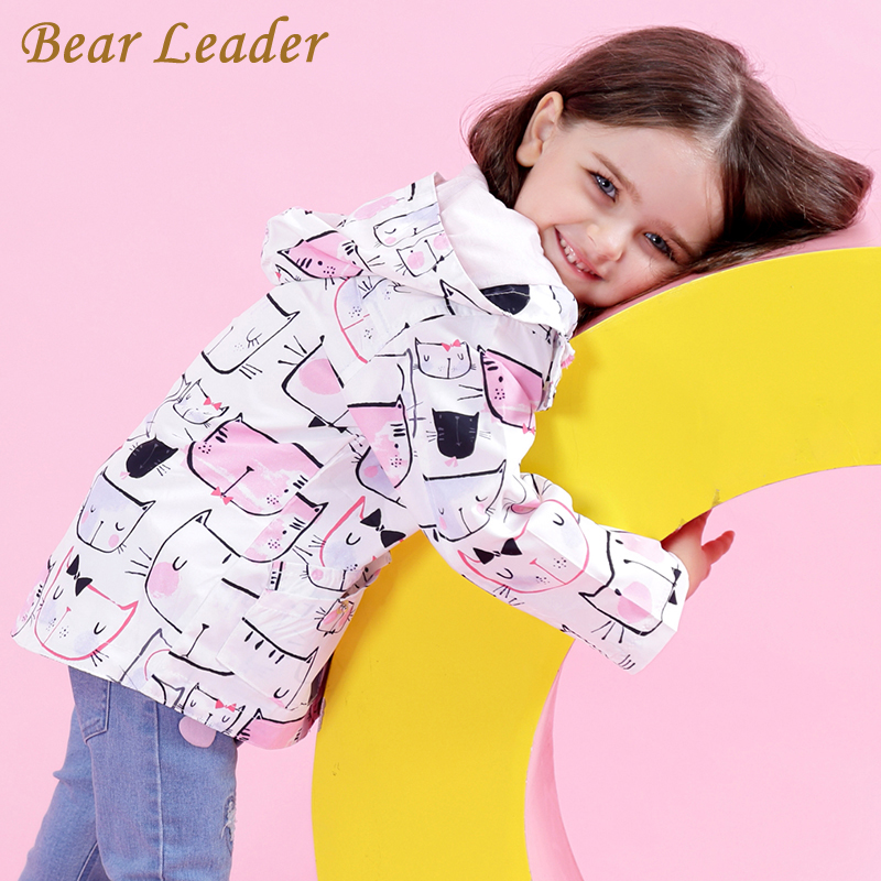 Bear Leader Girls Jassen en Jacks Kinderen 2018 Autumn Brand Children for Girls Kleding Cartoon Cat Outerwear Kinderkleding met capuchon