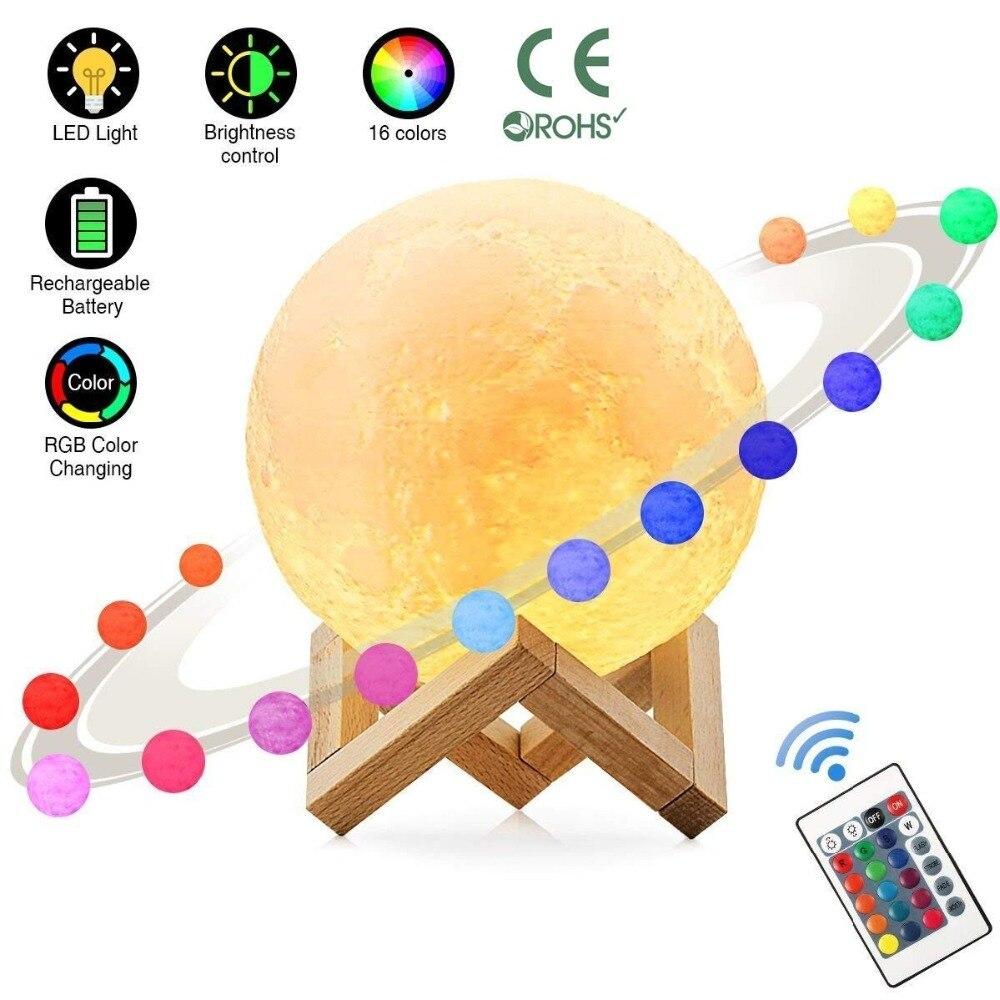 3D 印刷月ランプ充電式夜の光の Rgb 色変更タッチスイッチ寝室 3D 月面月ランプホームデコレーションクリエイティブギフト    グループ上の ライト
