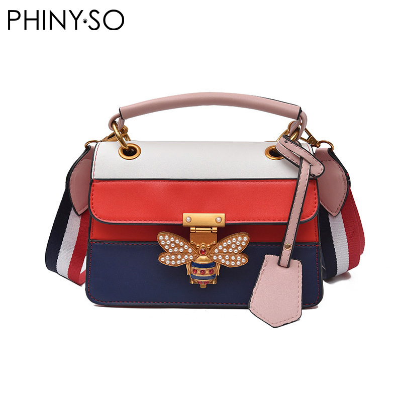 2018 Newest Fashion Luxury famous designer brand bee lock women bag casual lady shoulder bags PU leather flap Patchwork handbag