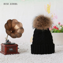 Hot Sale  Winter Autumn Fashion Women Wool Knitted Beanies Caps 100% Real Raccoon Fur Pompom Beanie Hats For