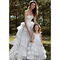 2017 strapless longo da menina de flor vestidos para casamentos fashion elegante aniversário da filha da mãe vestidos vestidos de novia