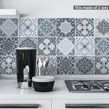 Funlife Moroccan Blue Tiles Wall Sticker,Self-Adhesive Tile Decal for Kitchen Decoration DIY Waterproof Furniture Bathroom Decor