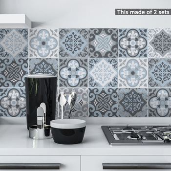 Funlife Moroccan Blue Tiles Wall Sticker,Self-Adhesive Tile Decal for Kitchen Decoration DIY Waterproof Furniture Bathroom Decor funlife self adhesive floor tiles sticker waterproof bathroom kitchen decor anti skid modern floor stickers for entrance tile