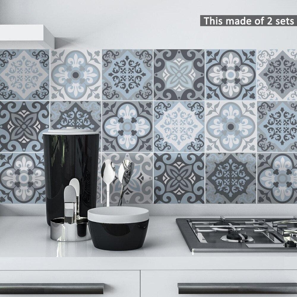 Funlife fas mavi fayans duvar Sticker, kendinden yapışkanlı kiremit mutfak için çıkartma dekorasyon DIY su geçirmez mobilya banyo dekor