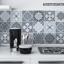 Funlife mavi fayans duvar Sticker, kendinden yapışkanlı kiremit çıkartmalar mutfak Panel dekorasyon su geçirmez mobilya banyo dekor