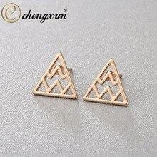 CHENGXUN Cool Punk Style Men Women Earrings Gold Silver Zig Zag Triangle Geometric Stud Ear Jewelry For Girl Girlfriend Gift