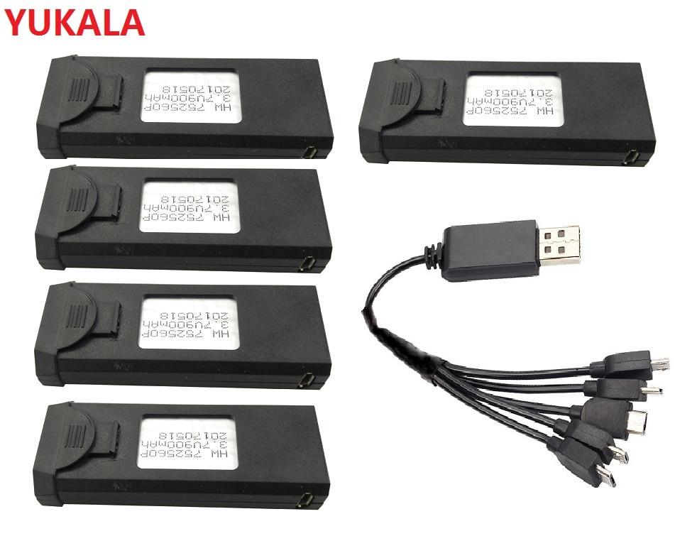 YUKALA XS809HW batería 3,7 V 900 mAh Lipo batería accesorios de repuesto para VISUO XS809 XS809W plegable RC Quadcopter