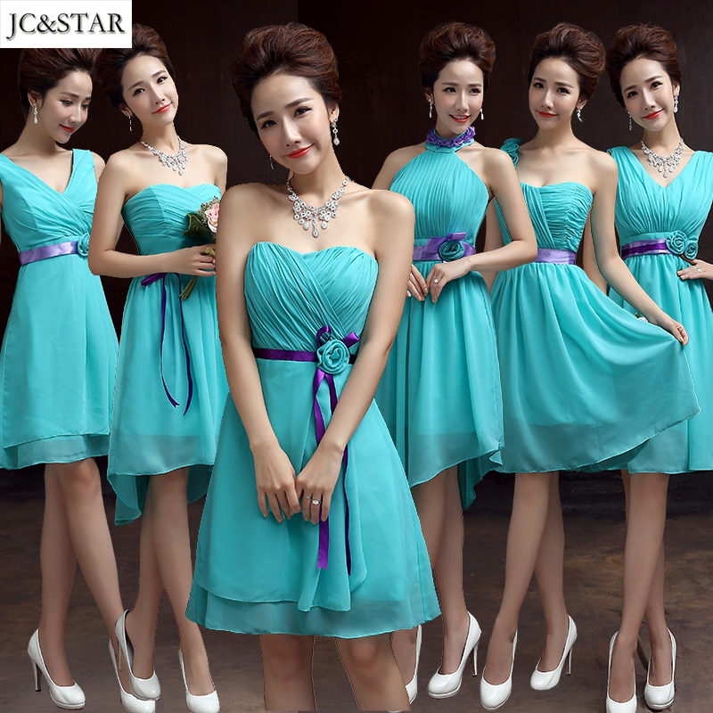 JC STAR Sexy Short Purple Turquoise Bridesmaid Dresses Coral Teal Navy Blue Mint Green Cheap Bridesmaid