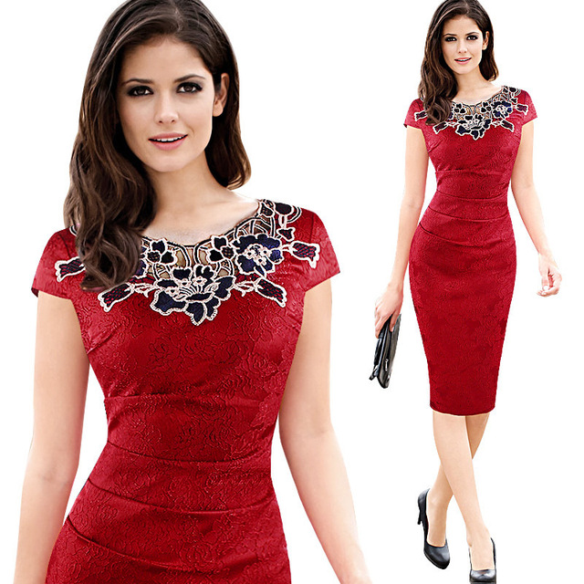 Euro-US style, 2019 new spring summer Women's clothing,Pencil dress,Lace ,Sexy,Round neck, 1