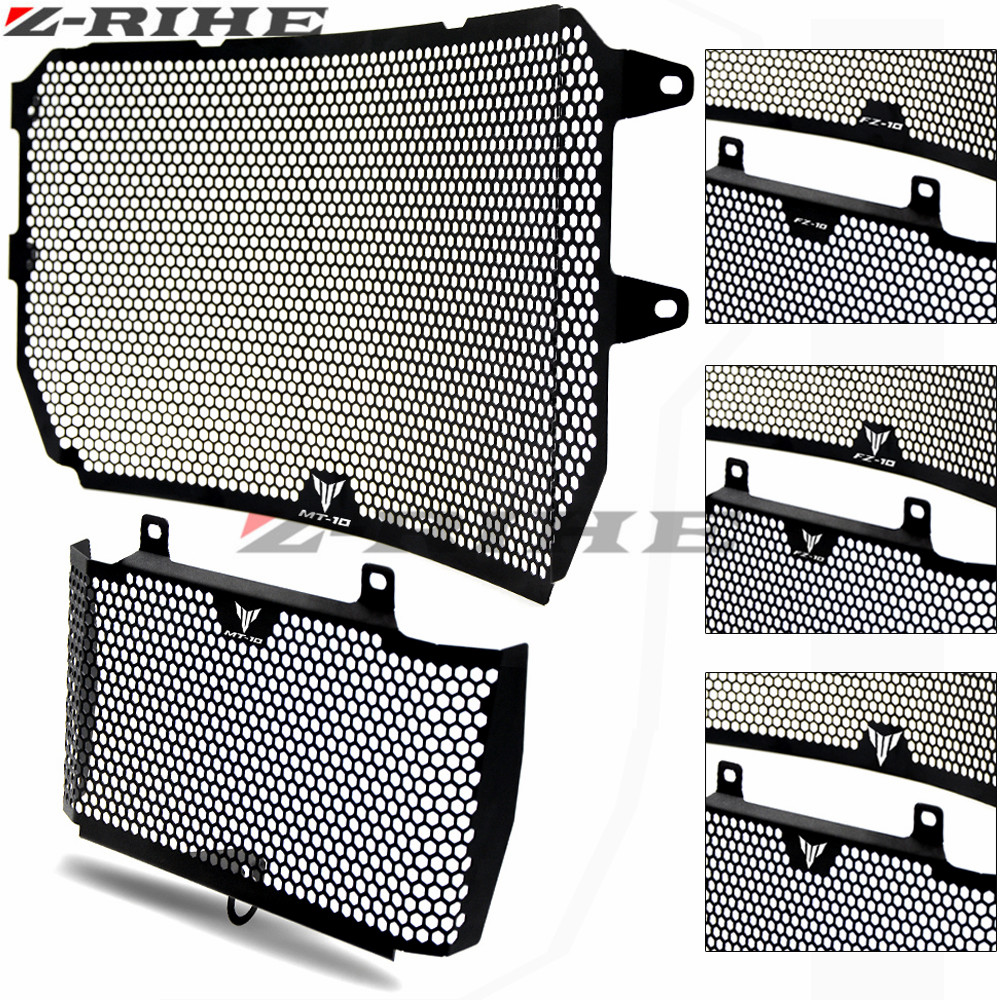 For YAMAHA MT-10 MT10 2016-2017 Motorcycle Accessories Radiator Grille Guard Cover & Oil Cooler Guard Cover Black FOR MT 10 logo for yamaha xjr 1300 xjr1300 1998 2008 99 00 01 02 03 04 05 06 07 motorcycle oil cooler protector grille guard cover