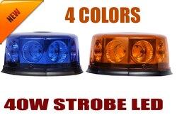 COB de 40W, 8 Chips, para techo de coche, luz Led estroboscópico de emergencia, luz de advertencia magnética, roja, amarilla, azul y blanca
