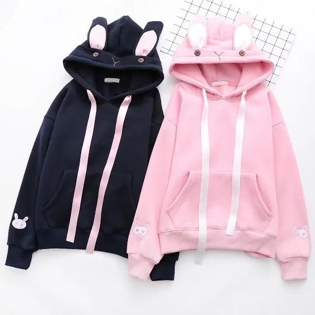 Hoodies Sweatshirt Female Cartoon Embroidery Hooded Pullover Tracksuit Winter Women Harajuku Kawaii Sweatshirts Q2HSF05