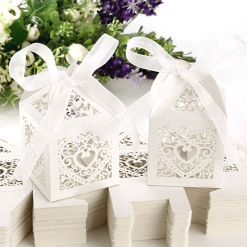 20PC Wedding Favor Hollow Chocolate Boxes Bonbonniere Gift Box Boxes Party Present Sweet For Candy Cake Packaging Boite Dragees