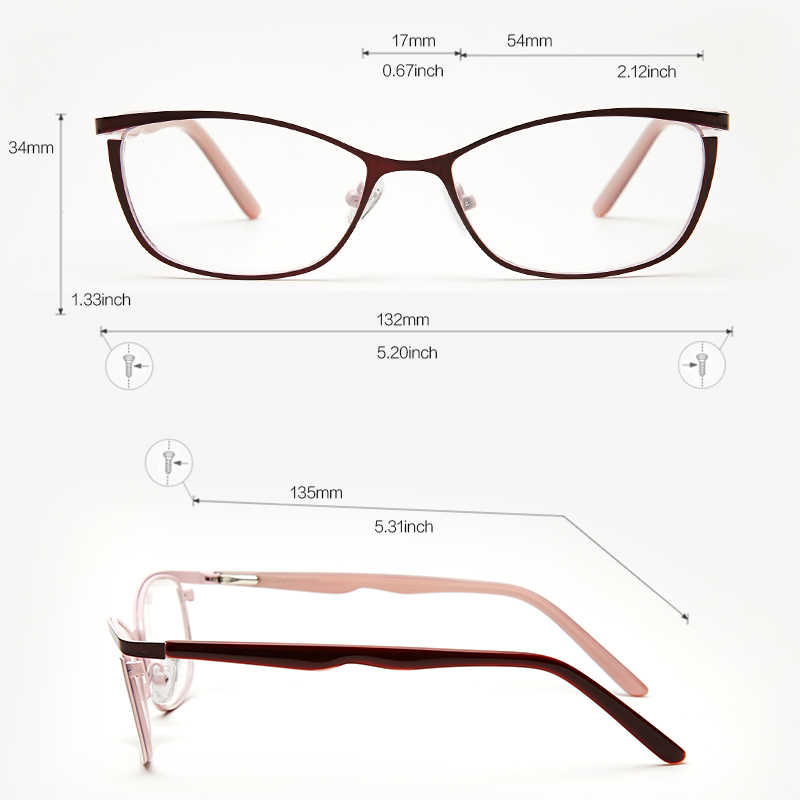 df935b5487a ... Metal Glasses Frame Women Brand Designer Female Vintage Cat Eye  Prescription Eyeglasses Pink Full Myopia Optical ...