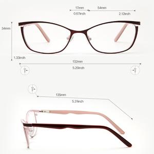 Image 3 - نظارة بإطار معدني للنساء ماركة مصمم أنثى Vintage عين القط وصفة طبية نظارات الوردي كامل قصر النظر إطارات البصرية العين