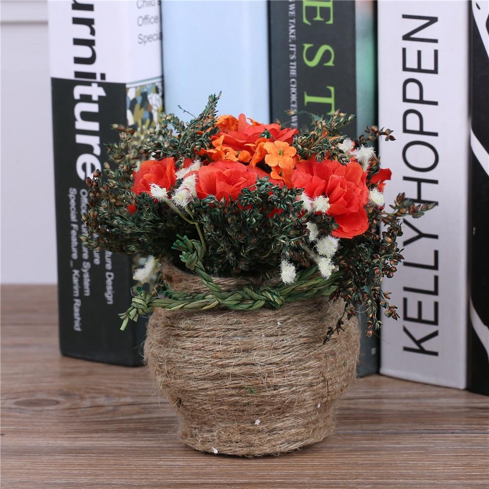 Tulokas! Halpa keinotekoinen kukka-asetelma Koristeellinen ruukkunut - Tavarat lomien ja puolueiden - Valokuva 5
