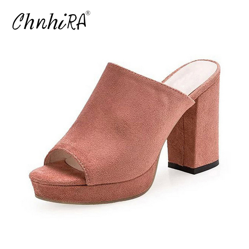 CHNHIRA Faux Suede Mules Summer Sexy High Heels Platform Shoes Woman Slippers Slip On Slides Pumps Casual Women Shoes#CH405 chnhira 2017 suede gladiator sandals platform wedges summer creepers casual buckle shoes woman sexy fashion high heels ch406