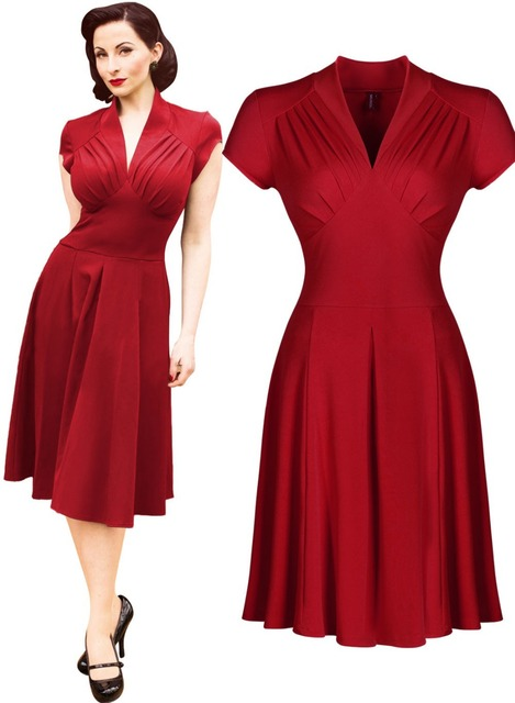 79d332aa4067 Free shipping Women s Vintage Style Retro 1940s Shirtwaist Flared Evening  Tea Dress Swing Skaters Ball Gown 3188
