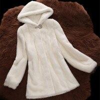 6XL Plus Size 2016 Women Winter Clothing Marten Overcoat Medium Long Synthetic Mink Fur Coat With