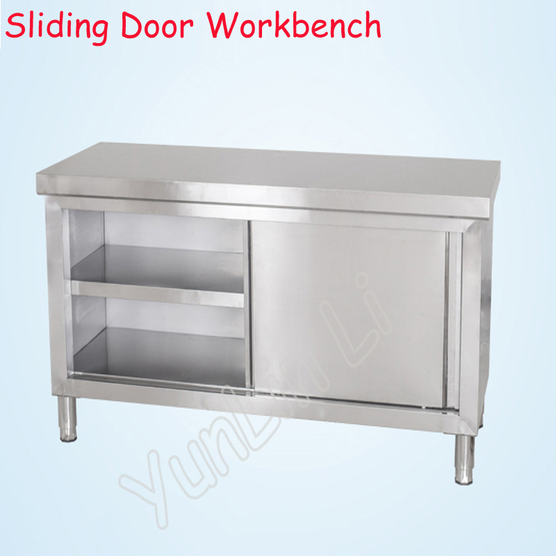 Commercial Kitchen Cart Cutting Professional Table: Stainless Steel Sliding Door Workbench Household
