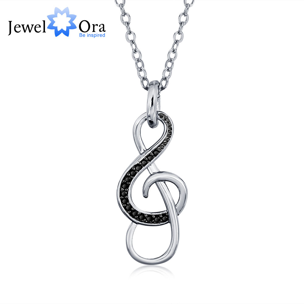 Musical Note Shape Black Cubic Zirconia Fashion Women Necklaces & Pendants (JewelOra NE101238) pair of stylish solid color musical note shape alloy cufflinks for men