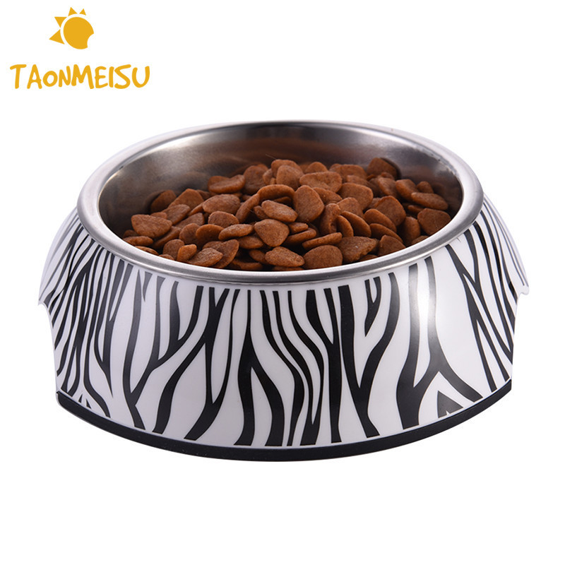 Zebra and Striped Pet Bowl with Removable Melamine Stainless Steel - Pet Products
