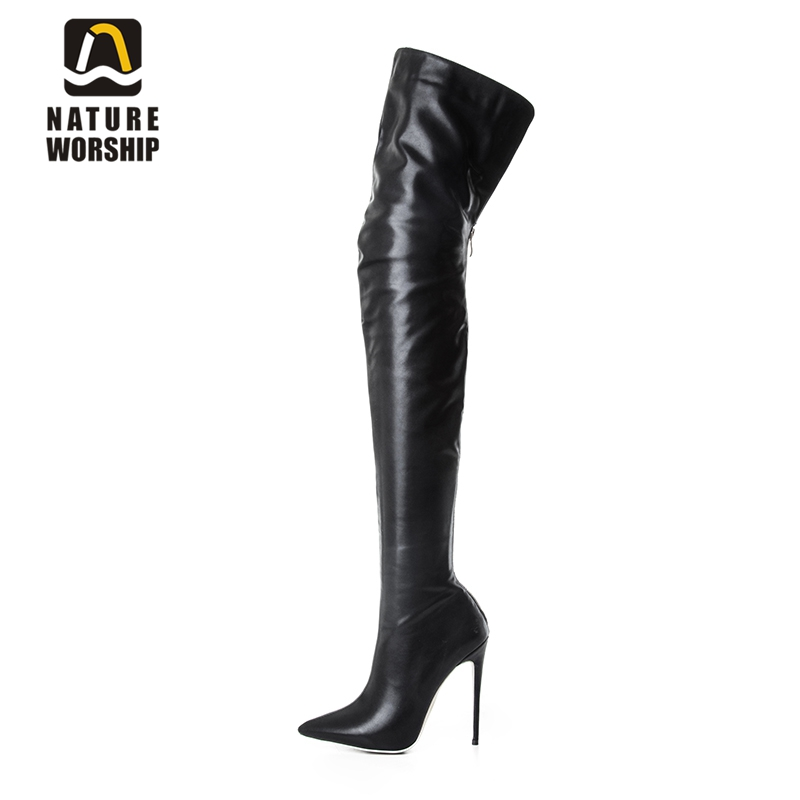 Fashion long boots for women pu soft leather sexy stovepipe long boots over the knee high heels women boots high heel long boots nemaone plus size hot spring autumn women boots sexy high heel over the knee soft pu leather black white fashion high boots