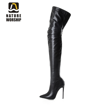 Fashion long boots for women pu soft leather sexy stovepipe long boots over the knee high heels women boots high heel long boots fashion denim over the knee boots sexy open toe high heel boots woman thigh high boots stiletto heels jeans boots
