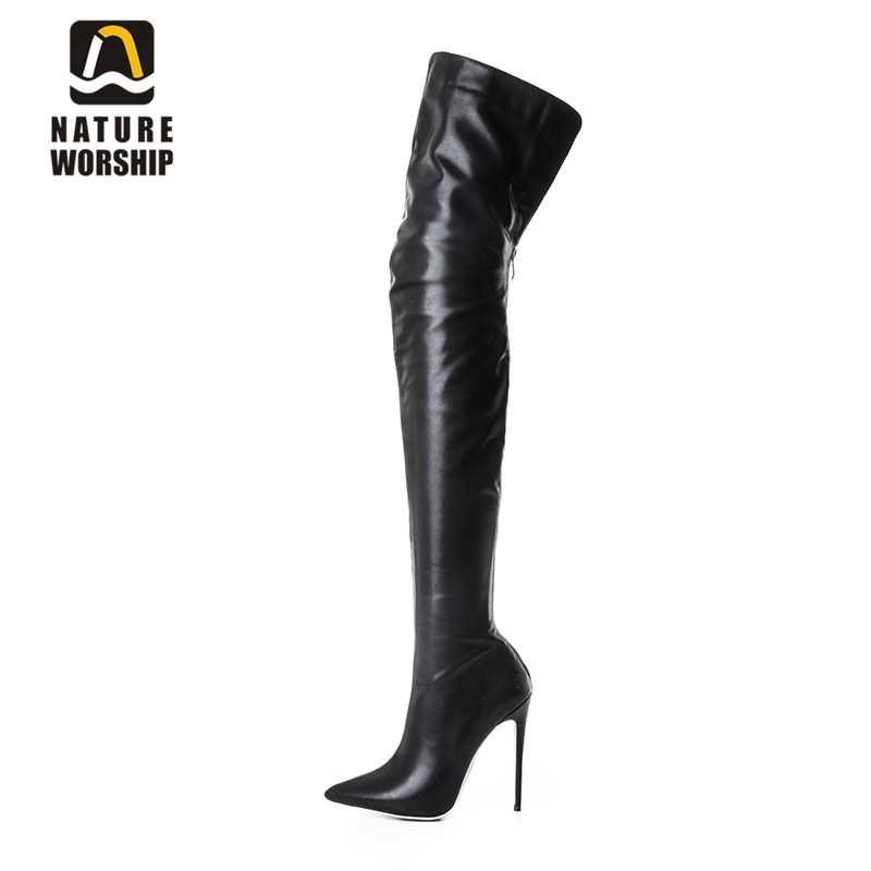 9b4e409ba9 Fashion long boots for women pu soft leather sexy stovepipe long boots over  the knee high heels women boots high heel long boots