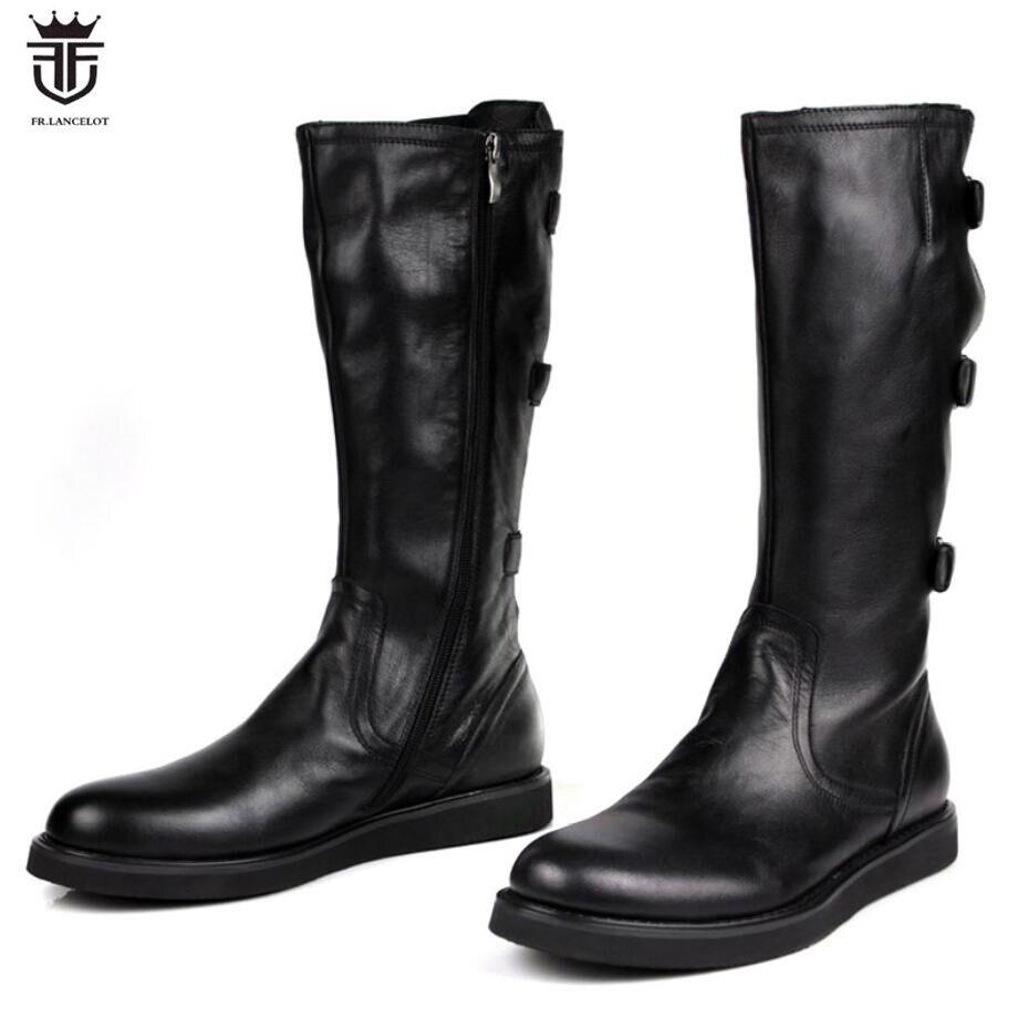 FR. LANCELOT 2018 mens Bottes botte en cuir véritable zip up Hommes Bottes courtes épais talon cheville de boucle chaussons talon plat hommes chaussons