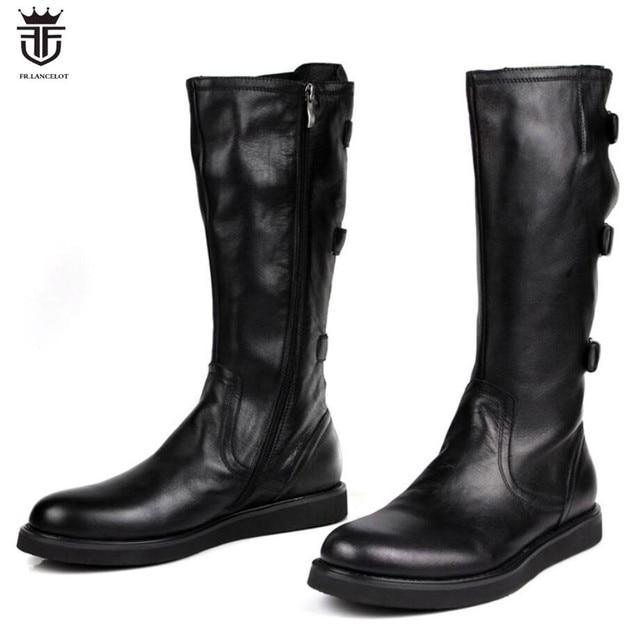 9fae672fdcc LANCELOT 2019 mens Boots real leather boot zip up Men Short Boots thick heel  ankle buckle booties flat heel men s booties