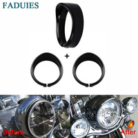 FADUIES Black 7 Inch Motorcycle Led Headlights Trim Ring 4 5 Inch LED Auxiliary Lights Trim