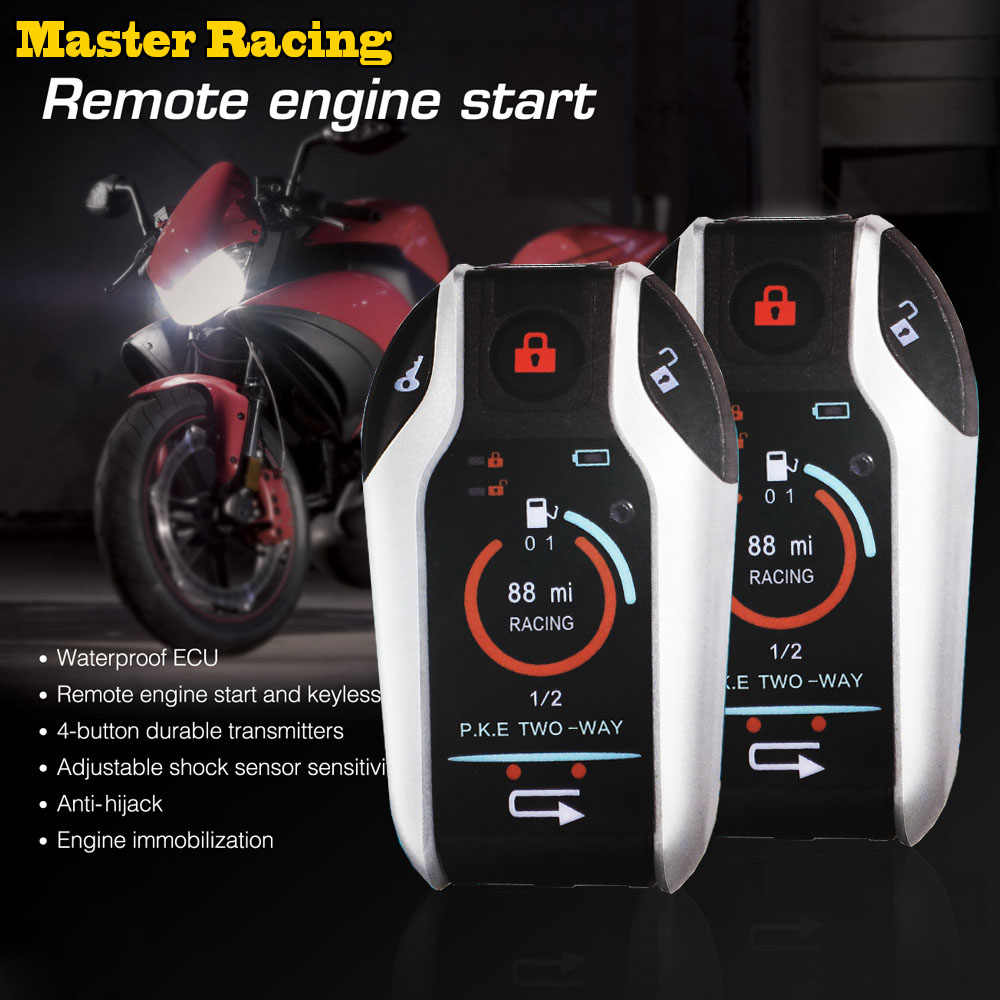 Alarme da motocicleta de controle remoto do motor iniciar dois 2 vias sistema de alarme de carro automático anti-roubo dispositivo de alarme de vibração sistema de bloqueio