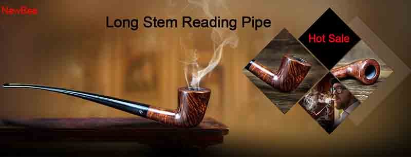 1 imported briar wood pipes handmade long stem pipes for reading flavored tobacco pipes
