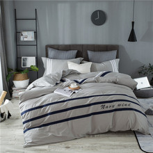 100 % Cotton Bedding Set 해군 스타일의 이불 커버 세트 부드러운 침대보 플랫 베드 시트 세트 Pillowcase 4PCS 침대 커버