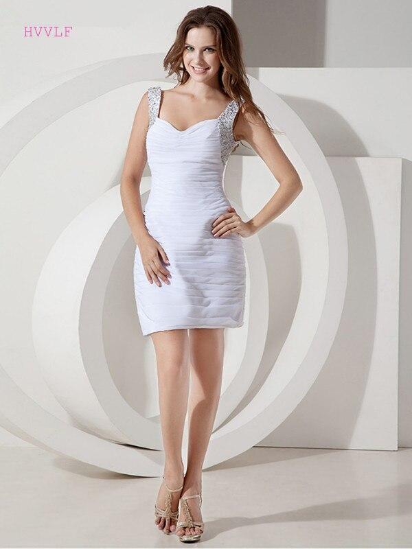 White 2019 Elegant Cocktail Dresses Sheath V-neck Short Mini Chiffon Beaded Crystals Party Plus Size Homecoming Dresses