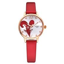 Relojes de señora marcas de Disney Relojes de pulsera Niñas de cuarzo impermeable Mickey Minnie Cartoon niños reloj Relojes de cuero relogio
