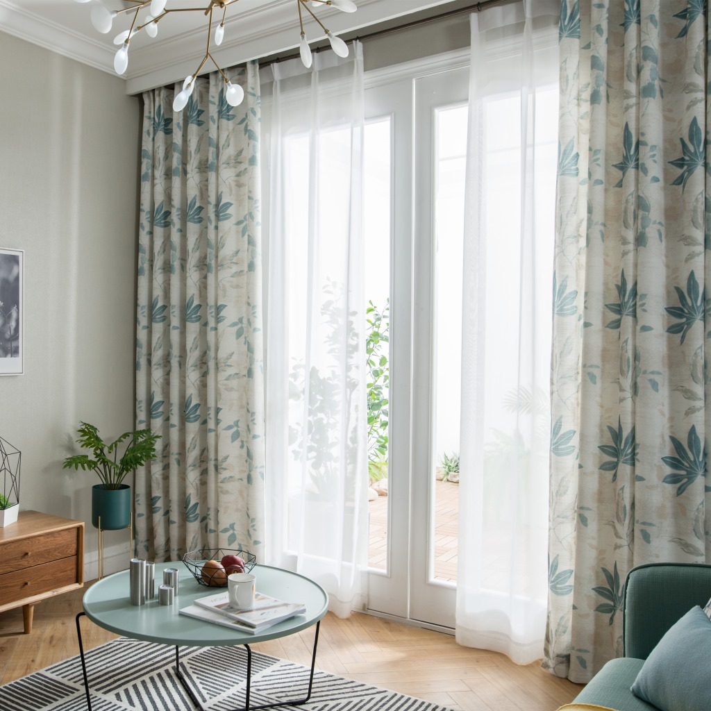 American Cotton And Linen Style Printing Window Curtains For Living Dining Room Bedroom  Nordic Fine Linen Curtain