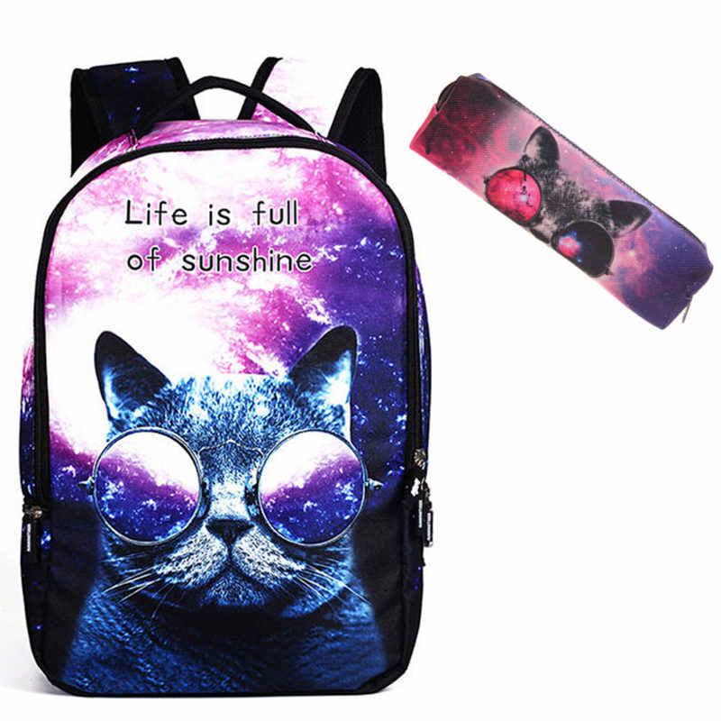 5809cdc24d24 Модный школьный рюкзак женская школьная сумка 3D мультфильм школьные сумки  с кошками для девочек-подростков