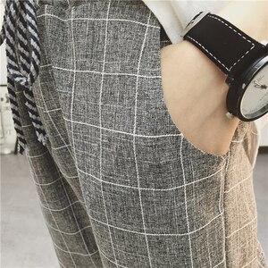 Image 5 - Calça feminina folgada, calça harém xadrez casual de linho algodão quadril primavera calças literárias sarouel femme 2020